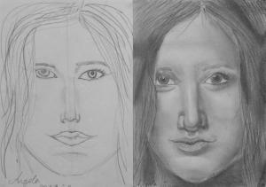 Benini Angela (14 éves) 1. és 3. napi rajza