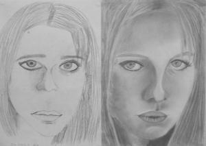 Brond Sina (13 éves) 1. és 3. napi rajza
