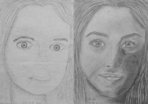 Csiger Nóra (14 éves) 1. és 3. napi rajza