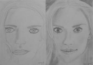 jobb agyféltekés rajztanfolyam 1. és 3. napi rajz 2013.12 Rénes Nóra (13 éves)
